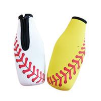 Bierflasche Sleeve Neopren Baseball Single Pack Zipper Soft Drinks Abdeckungen mit genähter Stoffkanten Flasche Taschen Bareware Werkzeug DSL-YW2475