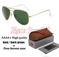 Haute qualité Vassl Hommes Femmes Designer Classique Pilot Lunettes de soleil Lunettes de soleil Gold Frame 58mm vert et l'objectif 62mm lunettes viennent avec la boîte