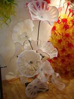 우아한 현대 핸드 블로우 유리 플레이트 아트 디자인 chihuly 스타일 무라노 유리 바닥 램프 유리 아트 플레이트