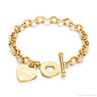 Personality Heart Pendant Bracelet Stainless Steel Bangle Je...