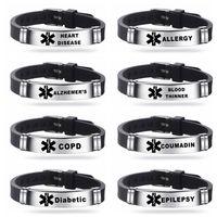 Aço Inoxidável Engravable bracelete alerta médico ID Pulseiras DIABETES epilepsia de ALERGIA ALZHEIMER Mulheres Homens Silicone pulseira atacado