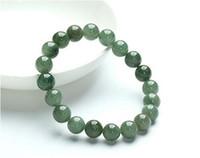 Gratis frakt 10mm Perfekt Kinesisk 100% En Grade Natural Jade / Jadeite Bean Beads Armband