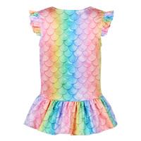 6 Style Girls T-shirt Sirène T-shirt 3D Échelle de poisson imprimé Tops bébé enfants fête d'anniversaire Cosplay Costume Costume Court Sleeve Shirt GJJ105