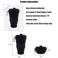 550ml Folding Silikon Cup Tassen bewegliches Silikon-Teleskop Trinken zusammenklappbare Silica Kaffeetasse mit Deckeln Reisen