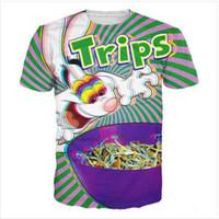 Neueste 3D-gedrucktes T-Shirt Trippy Vibrant Trix Kaninchen Short Hülsen-Sommer-beiläufige Oberseiten-T-Shirts Art und Weise O-Ansatz T-Shirt Männlich DX012