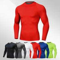 19 New Quick Dry Laufshirt Männer Bodybuilding Sport-T-Shirt Long Sleeve Compression Top Gym t-Shirt Männer Fitness Enge rashgard