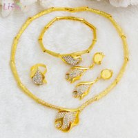 Liffly Nigerian joyería nupcial conjunto flor colgante collar conjunto Dubai Gold Jewelry Sets para mujeres boda africana