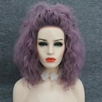 Weave Lace Front perruque amicale chaleur chaleur synthétique Smoky Mauve lumière pourpre perruque de couleur avec des bretelles réglables Cosplay perruque de dentelle