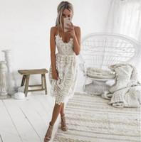 Vestidos Moda partido atractivo de las mujeres del vestido profundo de verano cuello en V sin mangas de encaje sin espalda halter Vestido a media pierna vendaje