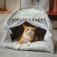 Chat chaud hiver lit pliant petits chats Tente Maison chaton pour chien Panier Lits Chat mignon Maisons Accueil Coussin Pet Products Kennel