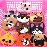 40pcs / chiave del silicone lotto Anello della copertura della protezione di Keychain della testa di caso di Shell del gatto criceto Pug Dog Animali modella i monili regalo bello