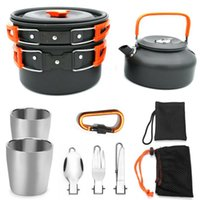 Folding Camping Outdoor Cookware Teapot Pan Set With Teacup ...