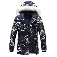 2020 Erkek Kış Ceketler Mont Erkekler Için Kapşonlu Kalın Uzun Ceket Büyük Kürk Yaka Parka Kış Ceket Erkek Askeri Aşağı Palto S-5XL