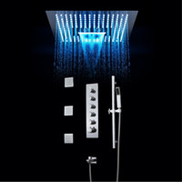 LED Multi-functional Lights Shower Panel multi function Stainless Steel Rainfall Set Massage System Faucet polish Colorful