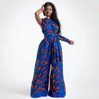 Siskakia Frauen Dashiki Hosen Jumpsuits Frühling Sommer 2020 Feder-Druck afrikanische Kleidung reizvolle beiläufige Schlaghosen Overall