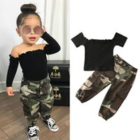 1-6Y الأزياء الرضع بنات ملابس اطفال مجموعات كم قصير معطلة الكتف تي شيرت بلايز + سروال التمويه 2PCS
