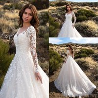 Gorgeous Ivory Sheer Long Sleeves Wedding Dresses Sexy Backl...