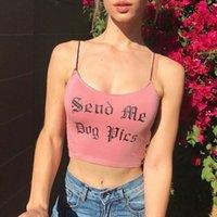Camis Brat Knit U Neck 민소매 화이트 탑스 여성 여성 면화 자른 편지 인쇄 캐미솔 허리 섹시한 여름 방천공 탱크