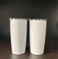 Sublimación al vacío de acero inoxidable 20 oz Vasos de doble pared de transferencia de calor con aislamiento blanco Vasos de impresión Taza de Coffe con Resbalado tapa A02