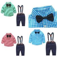 Ребенок дизайнер одежды осень весна новорожденный устанавливает Детская одежда джентльмен костюм клетчатая рубашка галстук-бабочка Брюки 2 шт. костюмы