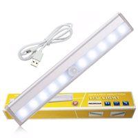10 LED infrarouge IR Détecteur de mouvement sans fil capteur de lumière Closet USB rechargeable Led Lampe Armoire d'armoires de cuisine LED Lumière