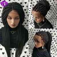 Caixa de densidade de 200% Tranças de renda dianteira de renda para mulheres negras americanas Long preto / marrom / loira peruca trançada com linha fina natural