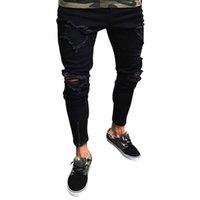 SHUJIN Verão 2019 Homens Buraco Destruído Algodão Estiramento Denim Jeans Homme Joelho Aberto Rasgado Afligido Slim Fit Calças