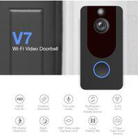 كاميرا V7 HD 1080P الذكية واي فاي فيديو الجرس إنترفون البصرية الرؤية HD ليلة IP جرس الباب لاسلكية المنزل الأمن
