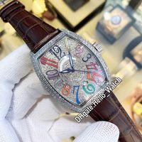 Nowy Kolor Dreams Crazy Hours Diamond Steel Case 7502 QZD Codr Automatyczny Zegarek Gypsophila Dial Date Brown Leather Zegarki Hello_watch