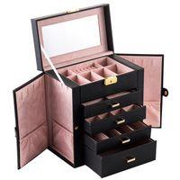 USA Ship Makeup Train Case Professional PU Läder Vanity Väska med kosmetisk väska Makeup Tackle Box Smycken Storage Arrangör Case (svart)