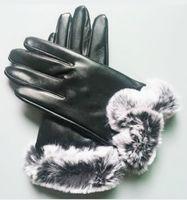 femmes flambantes gants en cuir de peau de mouton brillant hiver femme hiver chaude mode coupe-vent antigel gants