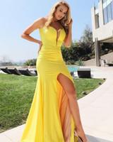 Donne Sexy scollo a V giallo lungo della sirena dei vestiti da sera con fessura del lato Abendkleider robe de soiree Piano Lunghezza Gelb Prom Gowns