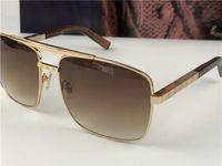 новые моды классические солнцезащитные очки Attitude Солнцезащитные очки золотой раме квадратный металлический стиль старинные рамы наружной классической модели 0259DR35624