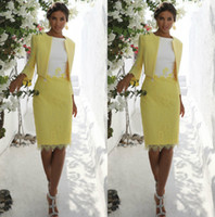 2020 Yellow Mother of The Bride Dresses With Jacket Knee Len...