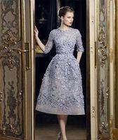 Abendkleider Elegante Spitze Applique A-line Abschlussball 3/4 Langarm Tee Länge Formale Kleider Party Celebrity Dress Anpassen