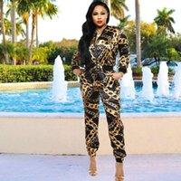 Golddruck Reißverschluss 2ST Suits Digital gedruckte INS Hot Tracksuits Fashion Frühling Classic Sports Set Frauen Schwarz