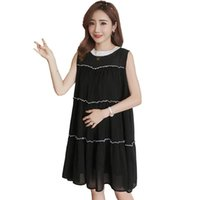 a7937440c28c 2019 Summer Fashion Maternity Elegant Ruched Chiffon Sundress Pregnant Women  Pleated Casual Nursing Dress Pregnancy Clothes Q901