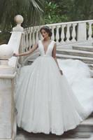 Cheap Белый Кружева V-образным вырезом Принцессы Ball Milla Nova Свадебное платье Vestido de Casamento Африканский Нигерийские Кружева Свадебное платье Пользовательское платье H039