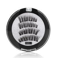 4 cílios magnéticos maquiagem artesanal cílios postiços reutilizáveis fácil de aplicar sem adesivo necessário DHL free magnet cílios falsos ML007