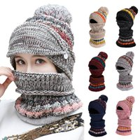 Fashion Woman Knit Hat and Scarf Set Hairball Pom Hats Femal...
