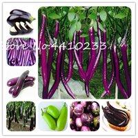 200 semillas de plantas Bonsai PC Cuelgue larga púrpura berenjena cuatro estaciones italiana Berenjena verde de la herencia vegetal saludable Bonsai muy fácil de cultivar