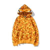 Neue Ankunfts-Herbst-Winter-Teenager orange Camo Hip Hop Kapuzenpullover Hoodies Männer Casual Voll Zipper CardiganHoodies