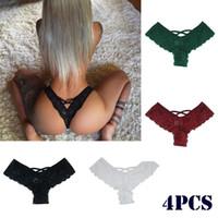 4pcs Sexy Thongs Lingerie Femme Lingerie sans couture culotte en dentelle Bikini Culotte G-string Underpant Slip Tanga Lingerie