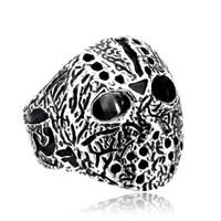 Neue Halloween Jason Mask Mann-Ring 316L Edelstahl Biker Voorhees Hockey Ringe Qualitäts-antike Mann Schmuck BR8-192