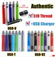 MOQ 1 шт. Аутентичные UGO T V II 510 резьбовая батарея Evod EGO Micro USB Passthrough 650 900 1100 MAH Vaporizer с зарядным устройством FAPE CARTIDGES
