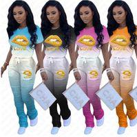 Donne Tuta gradiente colori pieghe dei pantaloni dei pantaloni Lips maniche corte Lettera T Shirt Designer due pezzi Outfits Estate Sport Suit D7205