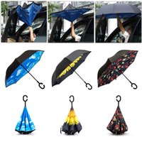 Inverted Ombrelli Auto antivento Reverse Umbrella pioggia donne Double Layer stand Anti-UV Parasole Ombrello Bambino Uomo Parasol