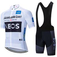 투르 드 프랑스 2020 프로 팀 INEOS 사이클링 저지 남성 / 여성 여름 통기성 사이클링 의류 턱받이 반바지 키트 로파 Ciclismo 설정