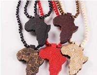 Direkter Verkauf Hiphop hölzerne Halskette Goodwood-Afrika-Karte Halskette Hiphop-Halskette 20pcs / lot L469
