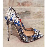 الشحن مجانا أزياء المرأة مضخات مثير سيدة الأبيض الأزرق الثعبان الثعبان بوينت تو عالية الكعب الأحذية الأحذية تأتي مع dustbag مربع حقيقي جلد
